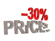 A discount of 30 % for the cracked decals price. Royalty Free Stock Photography