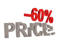 A discount of 60 % for the cracked decals price. A discount of 60% for the cracked decals price. 3d sale render Royalty Free Stock Photography