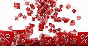 Discount cubes. On a white background Royalty Free Stock Image