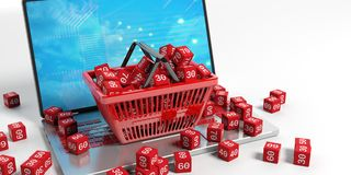 Discount cubes in a shopping basket. 3d illustration. Discount cubes in a shopping basket on a laptop. 3d illustration Stock Image
