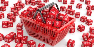 Discount cubes in a shopping basket. 3d illustration. Discount cubes in a shopping basket on white background. 3d illustration Royalty Free Stock Images