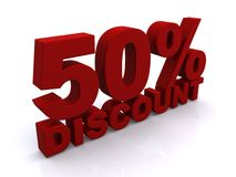 50% Discount. 3D block red letters 50% discount on white Stock Images