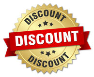 Discount 3d gold badge. With red ribbon Royalty Free Stock Images