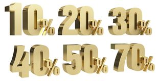 Discount d render gold text percent off on white background with reflection vector illustration