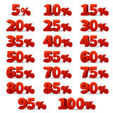 Discount 3d numbers vectors set. 10 off percent store signs Royalty Free Stock Photo