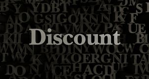 Discount - 3D rendered metallic typeset headline illustration. Can be used for an online banner ad or a print postcard Stock Photography