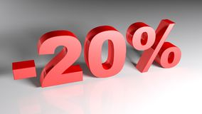 Discount 20% - 3D rendering. 20% written with red 3D letters standing on a white surface - 3D rendering illustration Stock Image