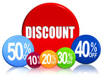 Discount different percentages in color circles Stock Photo