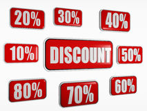 Discount and different percentages in red banners Stock Image