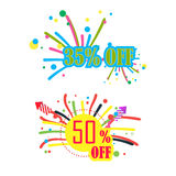 35% discount and 50% discount. Poster, banner or flyer design is sold with 35% discount and 50% discount, happy .fireworks. vector Royalty Free Stock Photos