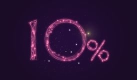 10% discount - Discount sale sign - Star icon numbers. Sales of 10% discount purple color label on black background Stock Photos