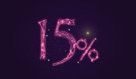15% discount - Discount sale sign - Star icon numbers. Sales of 15% discount purple color label on black background Stock Photo