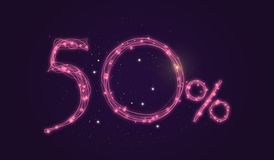 50 % discount - Discount sale sign - Star icon numbers. Sales of 50 % discount purple color label on black background Royalty Free Stock Image