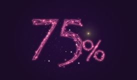 75 % discount - Discount sale sign - Star icon numbers Royalty Free Stock Photography