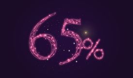 65 % discount - Discount sale sign - Star icon numbers. Sales of 65 % discount purple color label on black background Stock Image