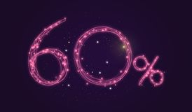 60 % discount - Discount sale sign - Star icon numbers. Sales of 60 % discount purple color label on black background Royalty Free Stock Image