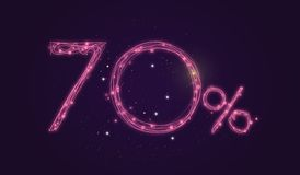 70 % discount - Discount sale sign - Star icon numbers Stock Photos