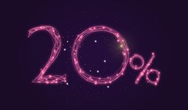 20% discount - Discount sale sign - Star icon numbers. Sales of 20% discount purple color label on black background Stock Photography