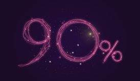 90% discount - Discount sale sign - Star icon numbers. Sales of 90% discount purple color label on black background Royalty Free Illustration