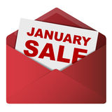Discount Envelope. Showing January Sale Stock Photo