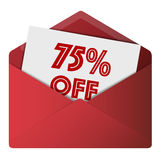 Discount Envelope. Showing 75% Off Sale Stock Photography