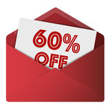 Discount Envelope. Showing 60% Off Sale Stock Image