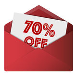 Discount Envelope. Showing 70% Off Sale Royalty Free Stock Photography