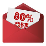 Discount Envelope. Showing 80% Off Sale Royalty Free Stock Photos