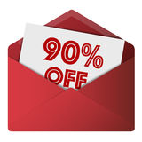 Discount Envelope. Showing 90% Off Sale Royalty Free Stock Images