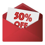 Discount Envelope. Showing 50% Off Sale Royalty Free Stock Photos