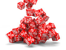 Discount. Falling red discount cubes. 3D illustration Royalty Free Stock Image