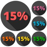 Discount fifteen 15 percent circular icons set with long shadow Royalty Free Stock Photography