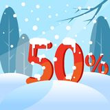 A discount fifty percent. Figures in the snow vector illustration