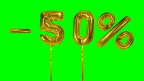 Discount 50 fifty percent off gold balloon sale banner floating on green screen shopping offer -. Discount 50 fifty percent off gold balloon sale banner floating stock video