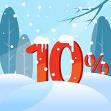 A discount. Figures in the snow vector illustration