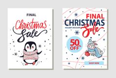Discount Christmas Sale on Vector Illustration. Discount and final Christmas sale, shop now, penguin wearing sweater and rabbit sitting with present, images and Royalty Free Stock Photo