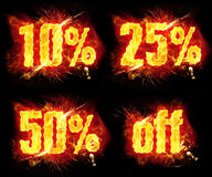 Discount Fire Banners. 10% 25%  50% off discount fire badges with burning flames Stock Images