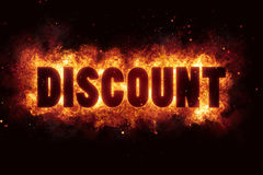 Discount fire flames burn burning text explosion explode. Sale Stock Photos