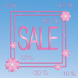 Discount flowers frame Royalty Free Stock Photography