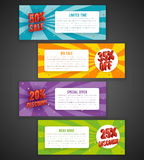 Discount flyer or sale brochure designs. Special offer banners with percent off stock illustration