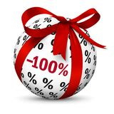 Minus 100 hundret Percent! Sphere with Discount -100%. Discount -100% - Free! Present / Gift Sign. Symbol for Give-Away or Gratis Products with 100 one hundret stock illustration