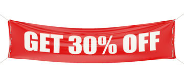 Discount get 30 % off concept on the red banner. 3d Stock Photography