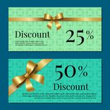 Discount 25 50 Gift Certificate Promo Poster Bow. Discount 25 50 gift certificate promo poster with present sales on cards vector illustration posters  on blue Stock Photos