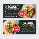Discount gift voucher asian food template design. Noodles set. Use for coupon, banner, flyer, sale, promotion.  stock illustration
