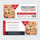 Discount gift voucher fast food template design. Pizza set. Use for coupon, banner, flyer, sale, promotion.  royalty free illustration