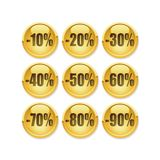 Discount gold button Royalty Free Stock Image