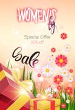 Discount Greeting Card International Women Day Sale Promotion Template Poster Design. Vector Illustration Stock Photography