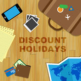 Discount Holidays Shows Vacations Vacation And Clearance. Discount Holidays Meaning Time Off And Reduction vector illustration