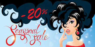Discount horizontal banner with Smiling Happy brunette girl. stock illustration