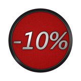 Discount icon `-10%`. Isolated graphic illustration. 3D rendering. Graphic icon isolated on white background vector illustration